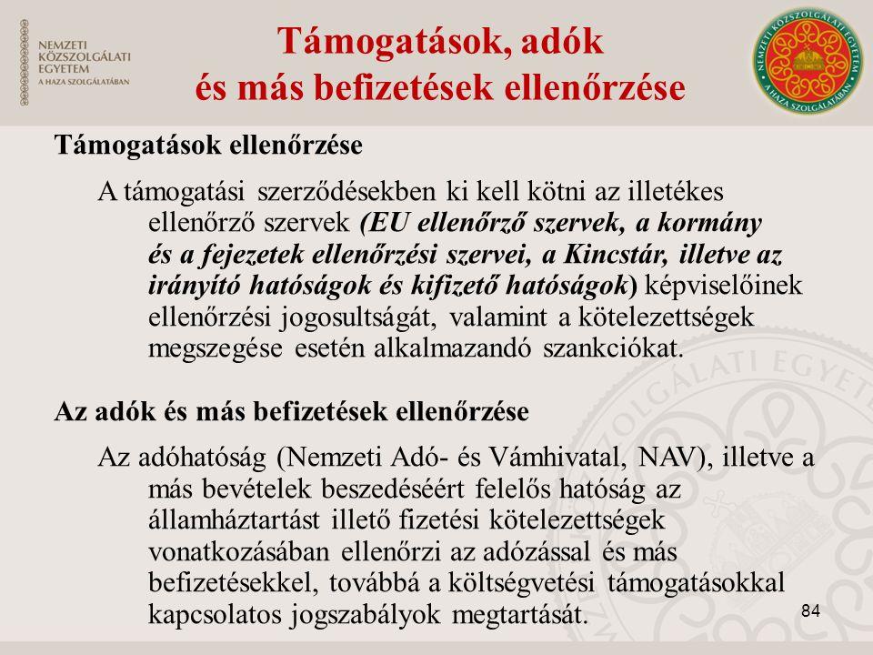 Támogatások, adók és más befizetések ellenőrzése Támogatások ellenőrzése A támogatási szerződésekben ki kell kötni az illetékes ellenőrző szervek (EU ellenőrző szervek, a kormány és a fejezetek ellenőrzési szervei, a Kincstár, illetve az irányító hatóságok és kifizető hatóságok) képviselőinek ellenőrzési jogosultságát, valamint a kötelezettségek megszegése esetén alkalmazandó szankciókat.