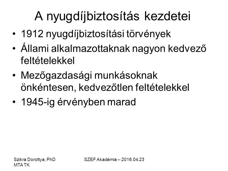 Szikra Dorottya, PhD MTA TK SZEF Akadémia -- 2016.04.23 A nyugdíjbiztosítás kezdetei 1912 nyugdíjbiztosítási törvények Állami alkalmazottaknak nagyon kedvező feltételekkel Mezőgazdasági munkásoknak önkéntesen, kedvezőtlen feltételekkel 1945-ig érvényben marad