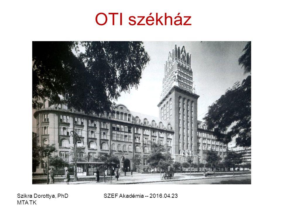 OTI székház Szikra Dorottya, PhD MTA TK SZEF Akadémia -- 2016.04.23