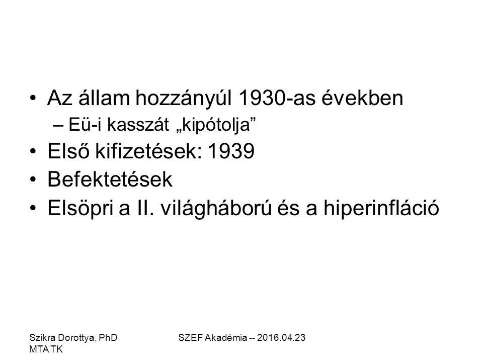 """Az állam hozzányúl 1930-as években –Eü-i kasszát """"kipótolja Első kifizetések: 1939 Befektetések Elsöpri a II."""