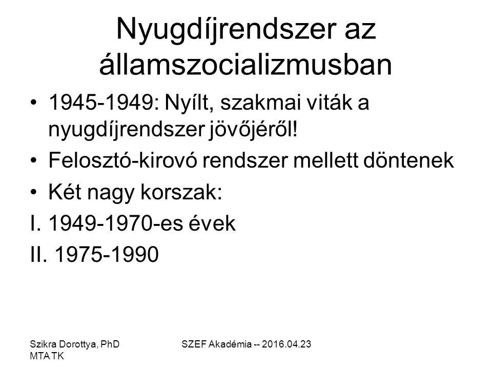 SZEF Akadémia -- 2016.04.23 Nyugdíjrendszer az államszocializmusban 1945-1949: Nyílt, szakmai viták a nyugdíjrendszer jövőjéről.