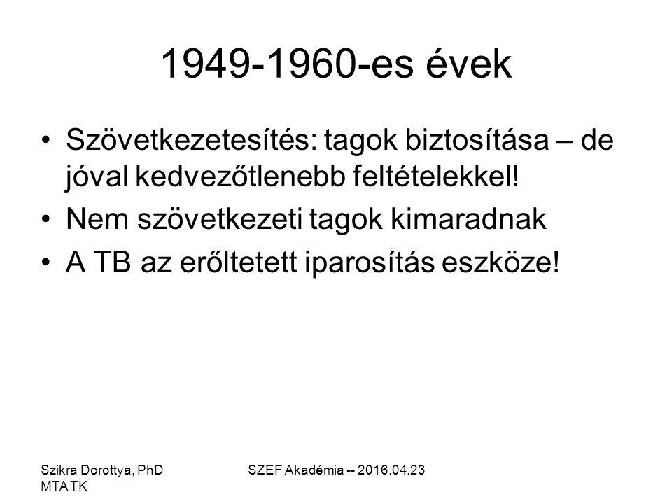 Szikra Dorottya, PhD MTA TK SZEF Akadémia -- 2016.04.23 1949-1960-es évek Szövetkezetesítés: tagok biztosítása – de jóval kedvezőtlenebb feltételekkel.