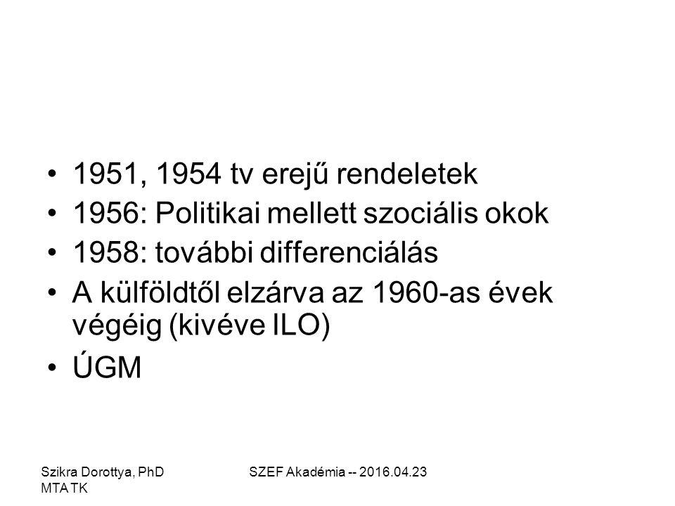 SZEF Akadémia -- 2016.04.23 1951, 1954 tv erejű rendeletek 1956: Politikai mellett szociális okok 1958: további differenciálás A külföldtől elzárva az 1960-as évek végéig (kivéve ILO) ÚGM