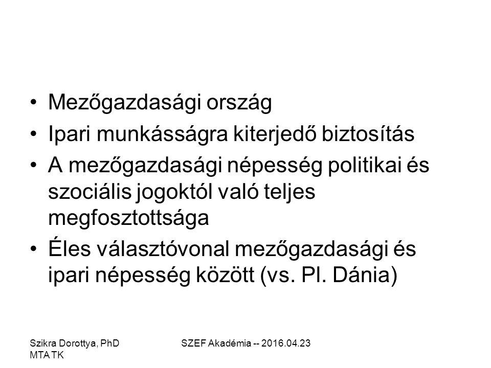 Szikra Dorottya, PhD MTA TK SZEF Akadémia -- 2016.04.23 Az 1928-as törvény végrehajtása Várományfedezeti rendszer Mezőgazdasági népesség kimarad Fragmentált (státus-konzerváló) rendszer Munkások 7 kategóriában Öregségi, árvasági és rokkantsági biztosítás is.