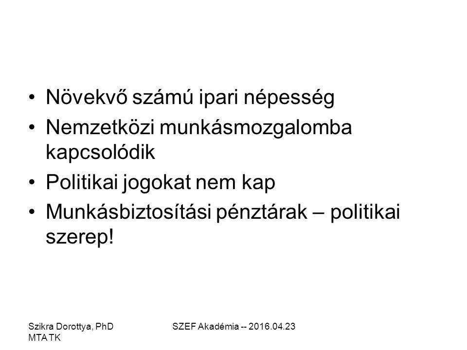 Szikra Dorottya, PhD MTA TK SZEF Akadémia -- 2016.04.23 Növekvő számú ipari népesség Nemzetközi munkásmozgalomba kapcsolódik Politikai jogokat nem kap Munkásbiztosítási pénztárak – politikai szerep!
