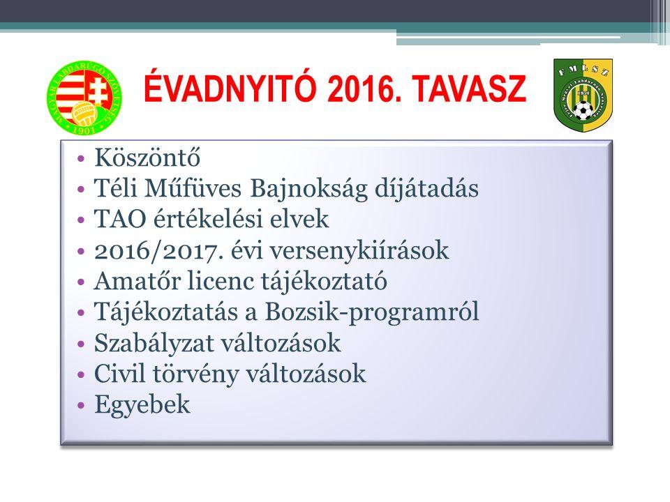 ÉVADNYITÓ 2016. TAVASZ Köszöntő Téli Műfüves Bajnokság díjátadás TAO értékelési elvek 2016/2017.