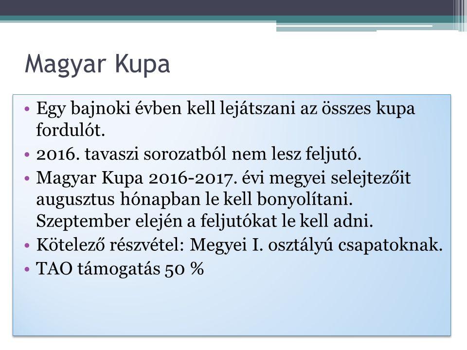 Magyar Kupa Egy bajnoki évben kell lejátszani az összes kupa fordulót.