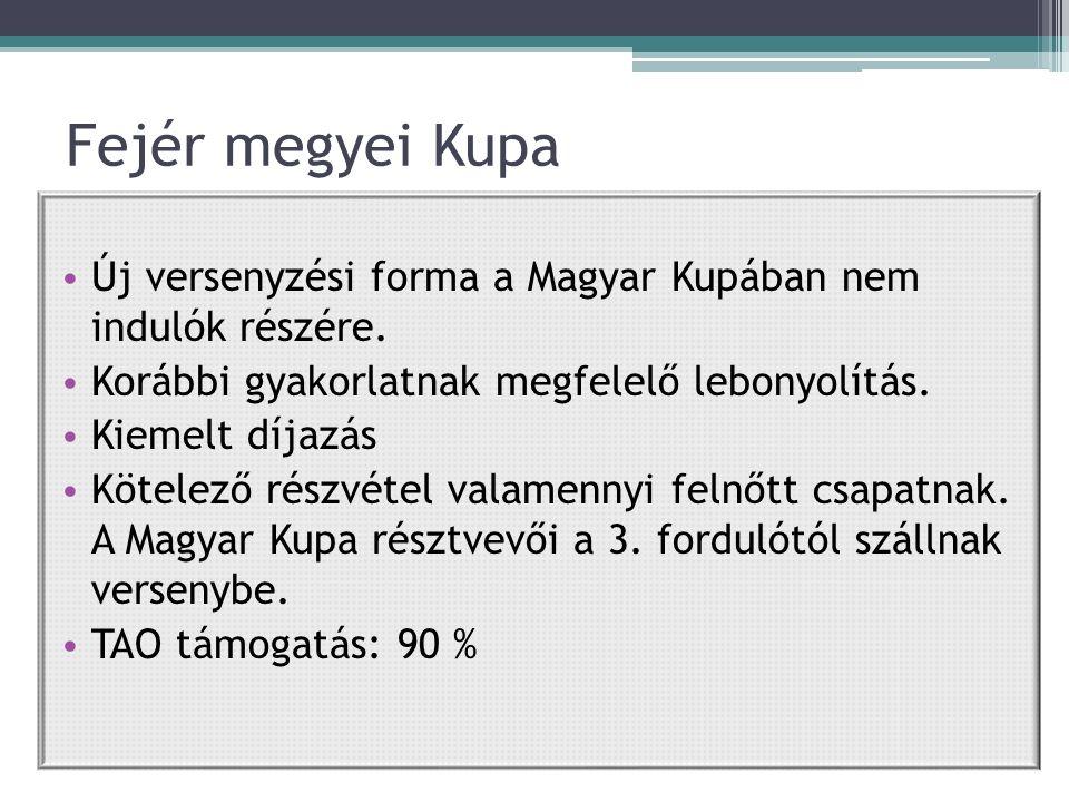 Fejér megyei Kupa Új versenyzési forma a Magyar Kupában nem indulók részére.