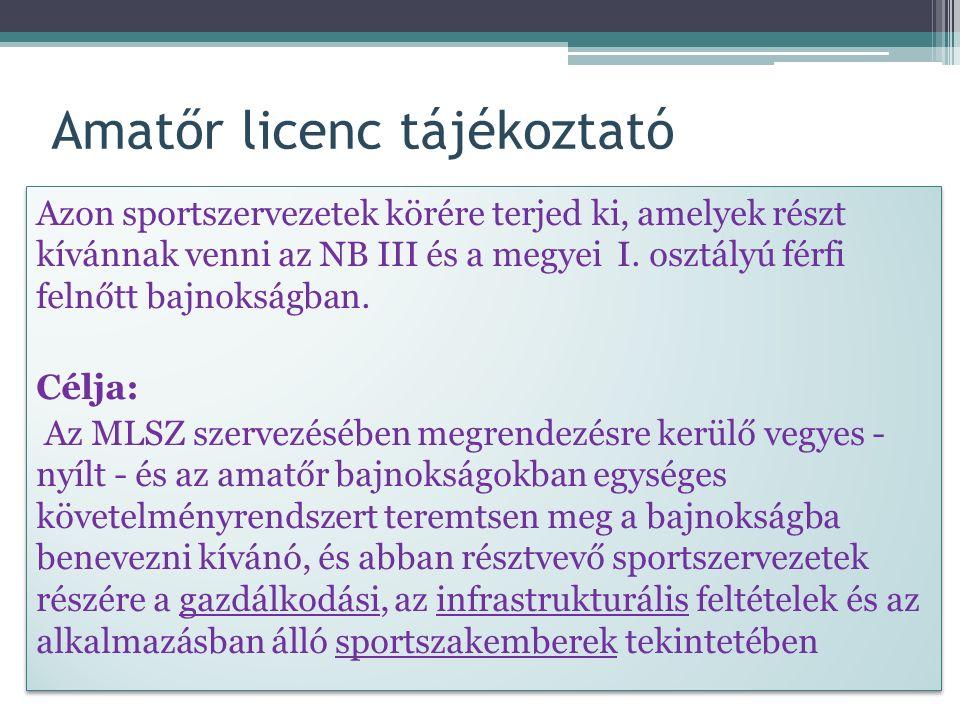 Amatőr licenc tájékoztató Azon sportszervezetek körére terjed ki, amelyek részt kívánnak venni az NB III és a megyei I.