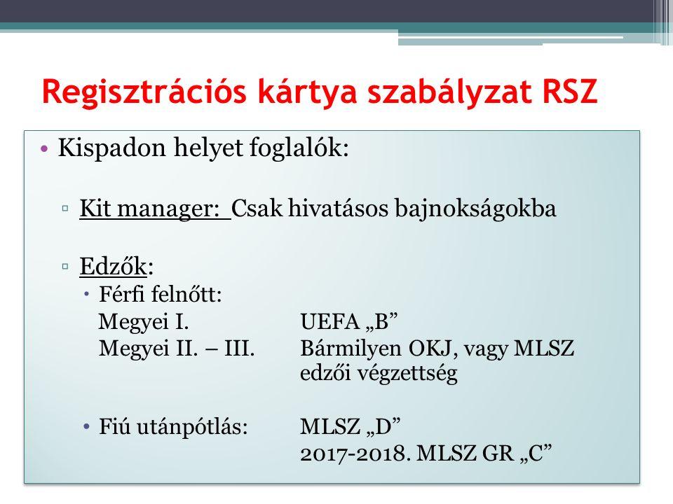 Regisztrációs kártya szabályzat RSZ Kispadon helyet foglalók: ▫Kit manager: Csak hivatásos bajnokságokba ▫Edzők:  Férfi felnőtt: Megyei I.