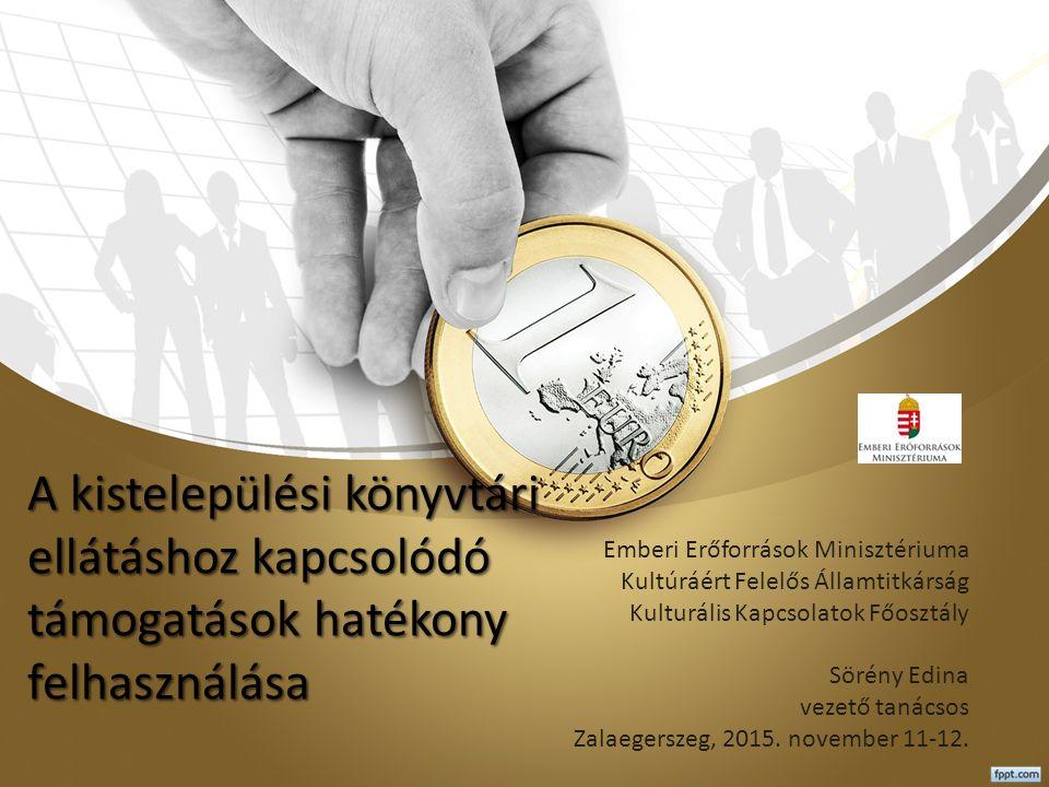 A kistelepülési könyvtári ellátáshoz kapcsolódó támogatások hatékony felhasználása Emberi Erőforrások Minisztériuma Kultúráért Felelős Államtitkárság