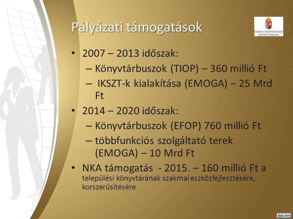 Pályázati támogatások 2007 – 2013 időszak: – Könyvtárbuszok (TIOP) – 360 millió Ft – IKSZT-k kialakítása (EMOGA) – 25 Mrd Ft 2014 – 2020 időszak: – Kö