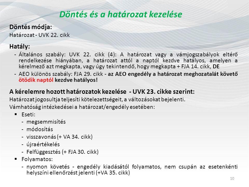 Döntés és a határozat kezelése Döntés módja: Határozat - UVK 22.