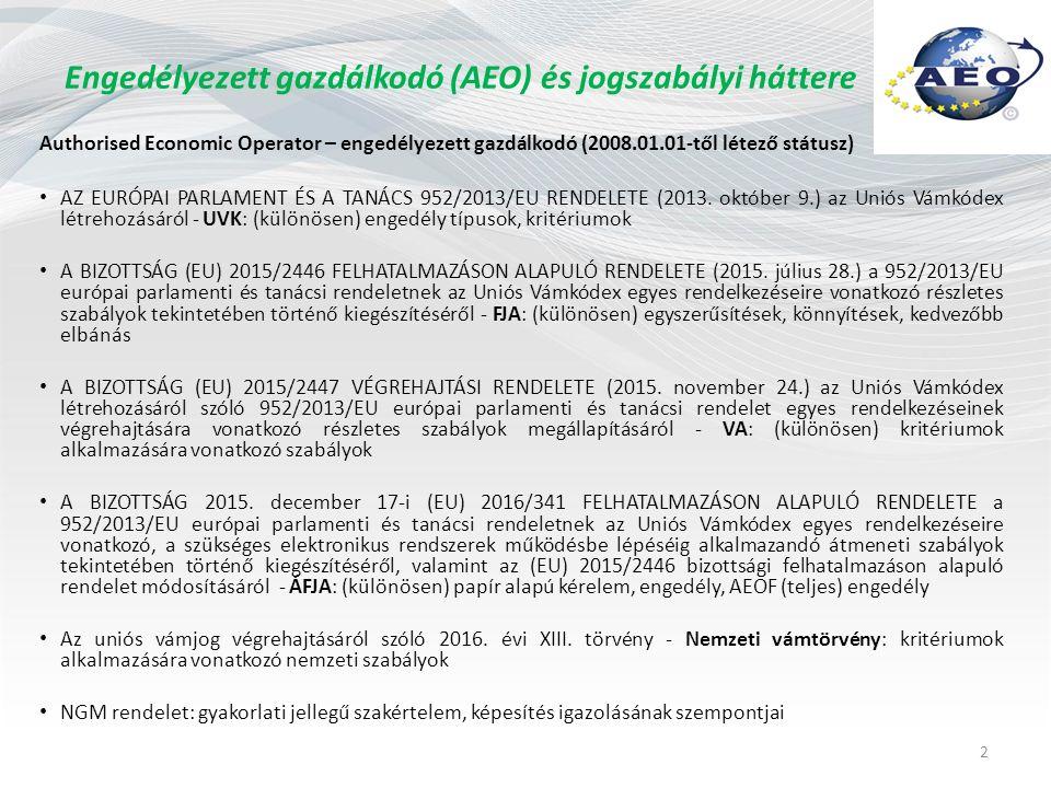 Engedélyezett gazdálkodó (AEO) és jogszabályi háttere Authorised Economic Operator – engedélyezett gazdálkodó (2008.01.01-től létező státusz) AZ EURÓPAI PARLAMENT ÉS A TANÁCS 952/2013/EU RENDELETE (2013.