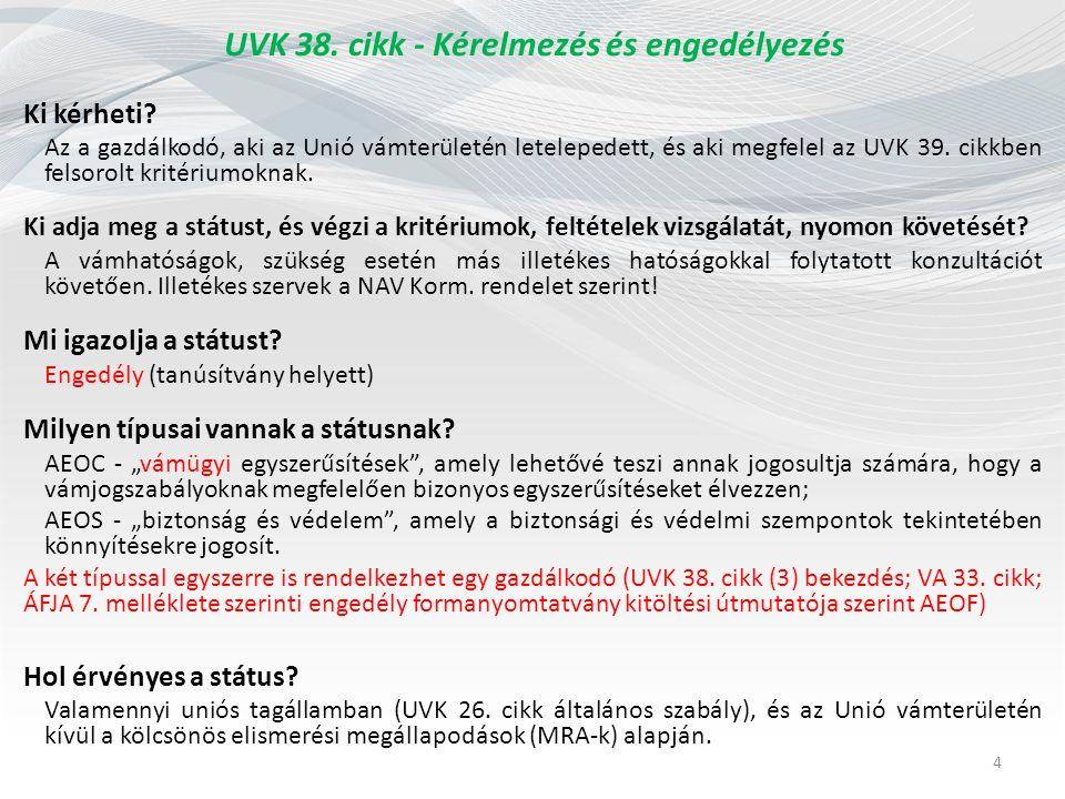 """UVK 38.cikk - Kérelmezés és engedélyezés Mi a státusz """"haszna ."""