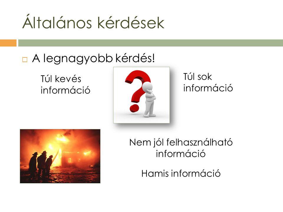 A legnagyobb kérdés! Általános kérdések Túl kevés információ Túl sok információ Nem jól felhasználható információ Hamis információ