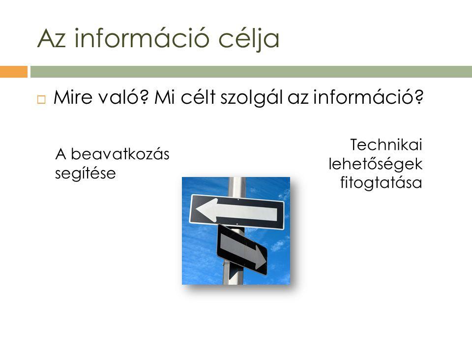  Mire való? Mi célt szolgál az információ? Az információ célja A beavatkozás segítése Technikai lehetőségek fitogtatása