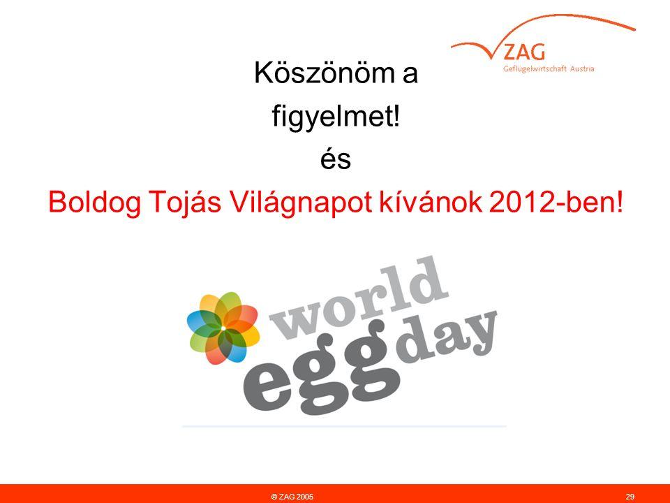 © ZAG 200529 Köszönöm a figyelmet! és Boldog Tojás Világnapot kívánok 2012-ben!