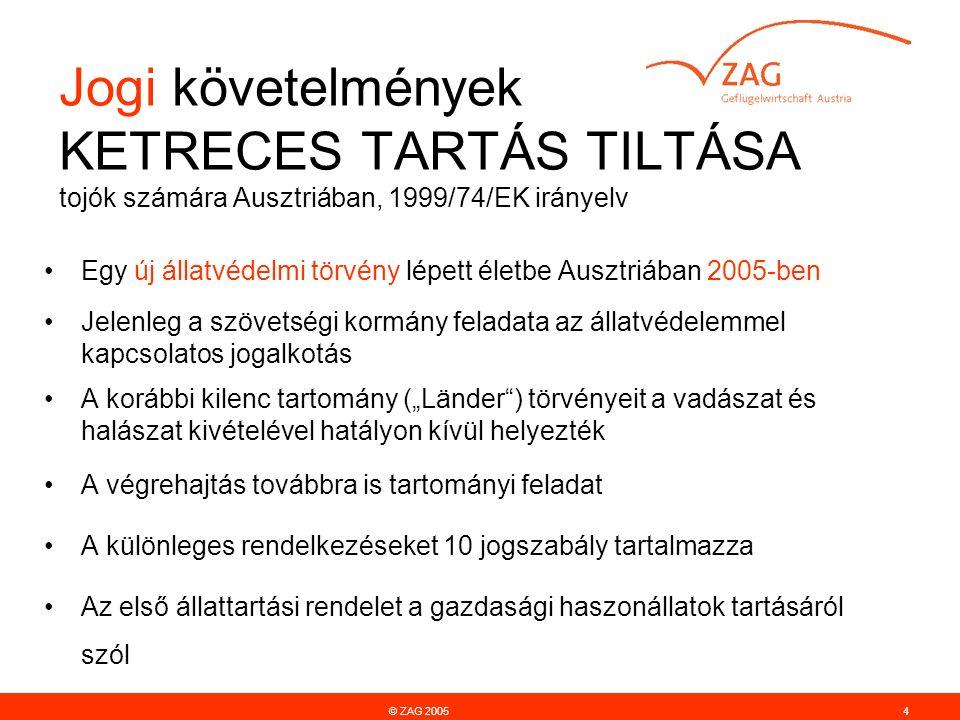 """Jogi követelmények KETRECES TARTÁS TILTÁSA tojók számára Ausztriában, 1999/74/EK irányelv © ZAG 20054 Egy új állatvédelmi törvény lépett életbe Ausztriában 2005-ben Jelenleg a szövetségi kormány feladata az állatvédelemmel kapcsolatos jogalkotás A korábbi kilenc tartomány (""""Länder ) törvényeit a vadászat és halászat kivételével hatályon kívül helyezték A végrehajtás továbbra is tartományi feladat A különleges rendelkezéseket 10 jogszabály tartalmazza Az első állattartási rendelet a gazdasági haszonállatok tartásáról szól"""