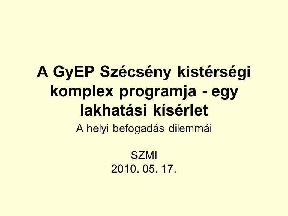 A GyEP Szécsény kistérségi komplex programja - egy lakhatási kísérlet A helyi befogadás dilemmái SZMI 2010.