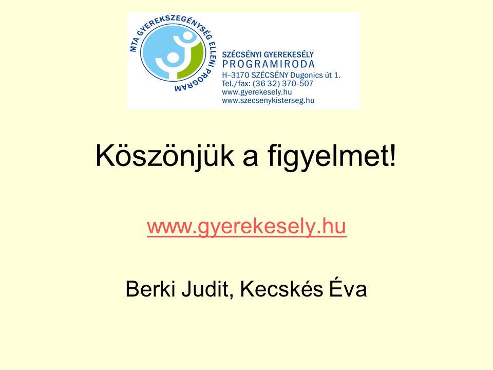 www.gyerekesely.hu Berki Judit, Kecskés Éva Köszönjük a figyelmet!