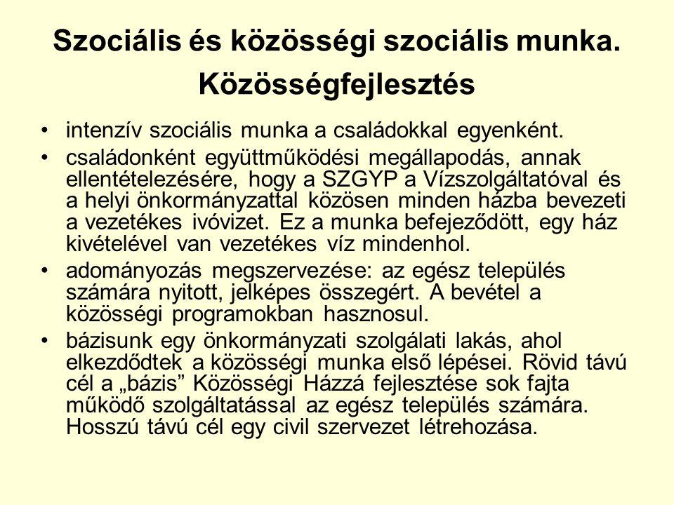 Szociális és közösségi szociális munka.
