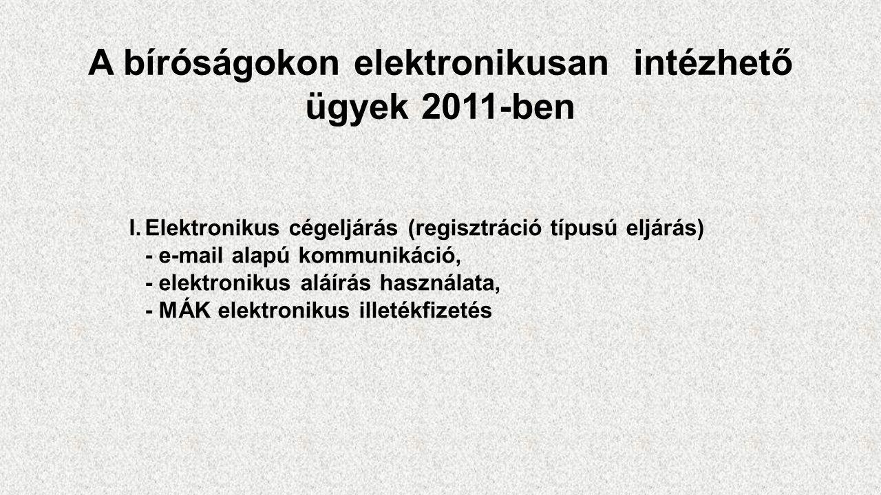 """A bíróságokon elektronikusan intézhető ügyek 2015-ben 1.Elektronikus cégeljárás 2.Civil szervezetek ügyei (regisztrációs típusú eljárás) 3.Elektronikus panasz 4.Pertartam kalkulátor 5.""""Hírvivő szolgáltatások (SMS és e-mail szolgáltatás) 6.EFER (elektronikus fizetés) 7.Csőd- és felszámolási eljárások 8.Elektronikus polgári perek (ellenérdekű felek közötti eljárás)"""