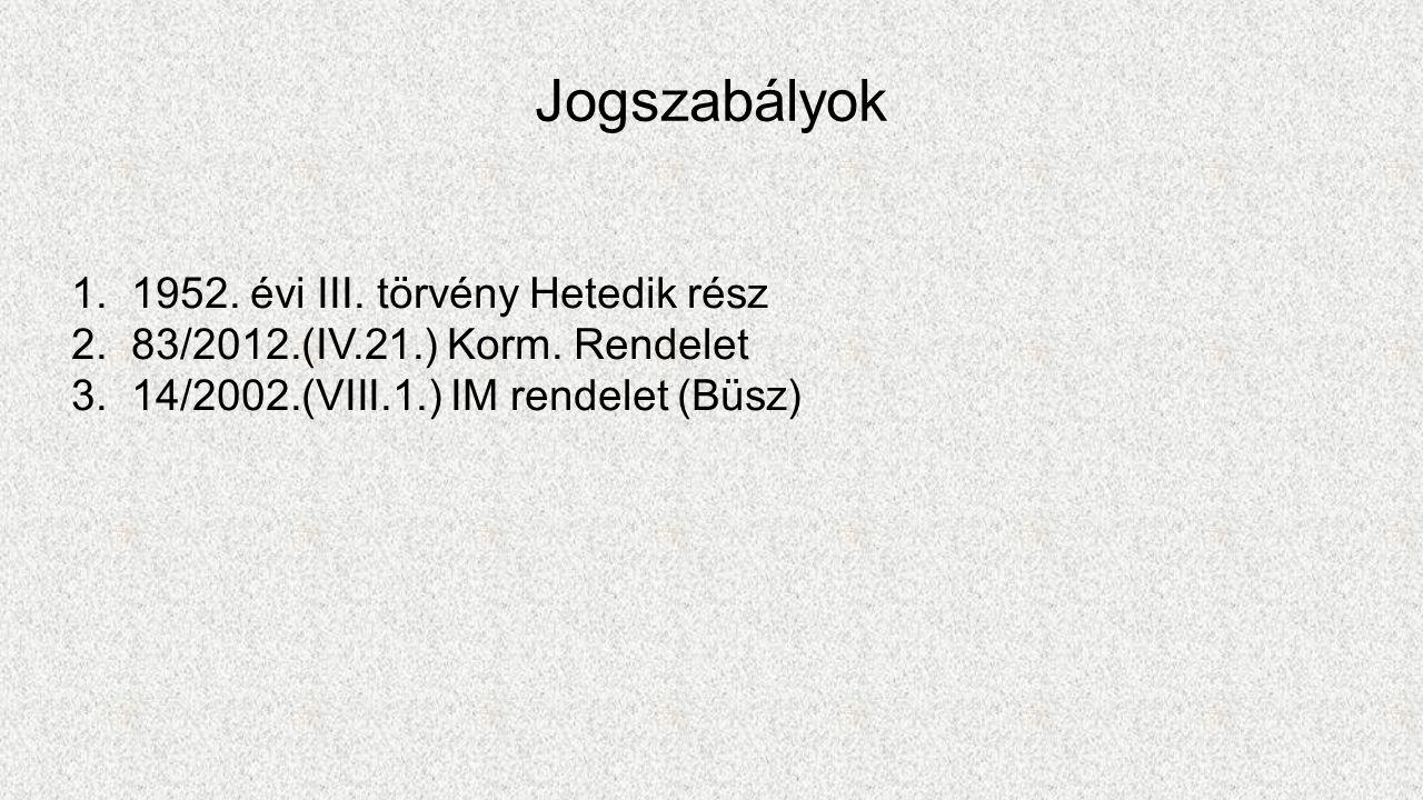 Jogszabályok 1.1952. évi III. törvény Hetedik rész 2.83/2012.(IV.21.) Korm.
