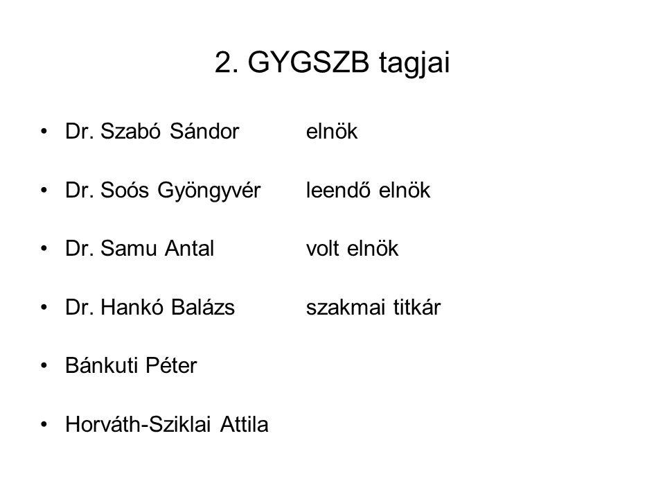 2. GYGSZB tagjai Dr. Szabó Sándor elnök Dr. Soós Gyöngyvér leendő elnök Dr.