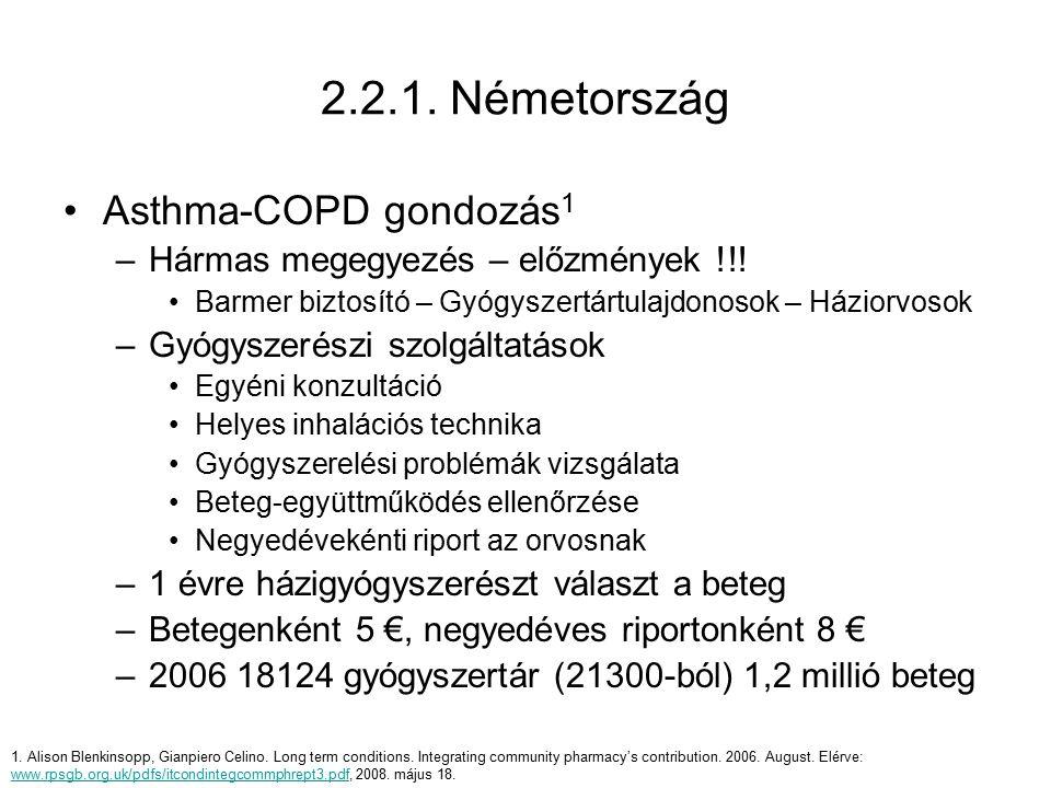 Asthma-COPD gondozás 1 –Hármas megegyezés – előzmények !!! Barmer biztosító – Gyógyszertártulajdonosok – Háziorvosok –Gyógyszerészi szolgáltatások Egy