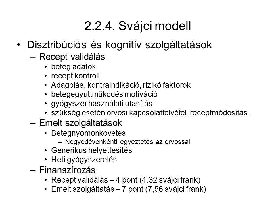 2.2.4. Svájci modell Disztribúciós és kognitív szolgáltatások –Recept validálás beteg adatok recept kontroll Adagolás, kontraindikáció, rizikó faktoro