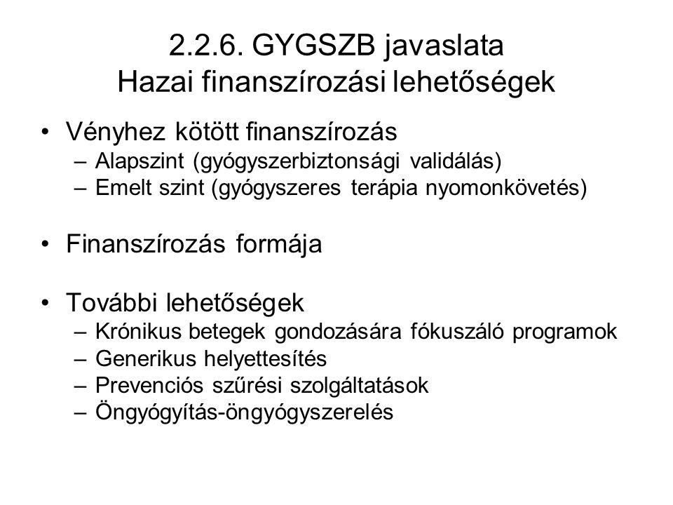 2.2.6. GYGSZB javaslata Hazai finanszírozási lehetőségek Vényhez kötött finanszírozás –Alapszint (gyógyszerbiztonsági validálás) –Emelt szint (gyógysz