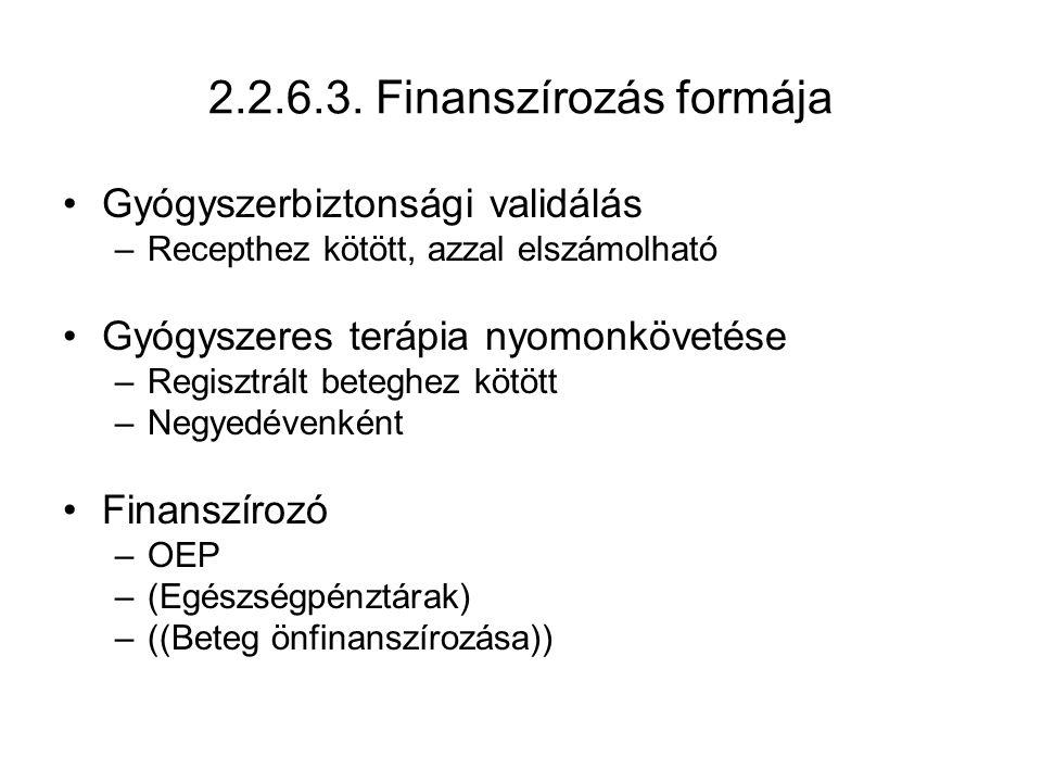 2.2.6.3. Finanszírozás formája Gyógyszerbiztonsági validálás –Recepthez kötött, azzal elszámolható Gyógyszeres terápia nyomonkövetése –Regisztrált bet