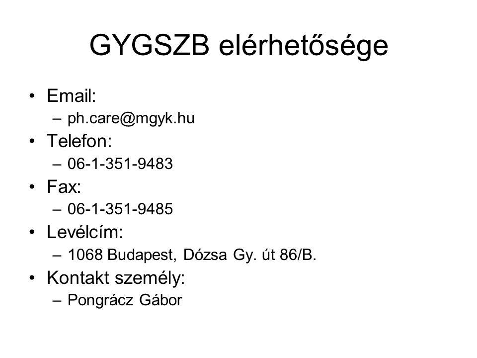 GYGSZB elérhetősége Email: –ph.care@mgyk.hu Telefon: –06-1-351-9483 Fax: –06-1-351-9485 Levélcím: –1068 Budapest, Dózsa Gy. út 86/B. Kontakt személy: