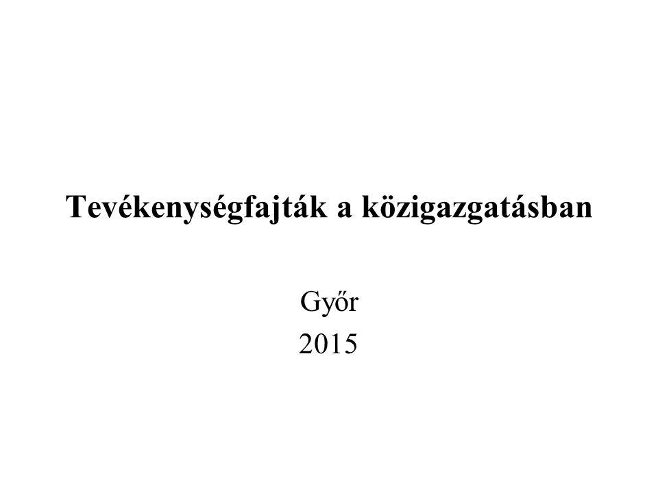 Tevékenységfajták a közigazgatásban Győr 2015
