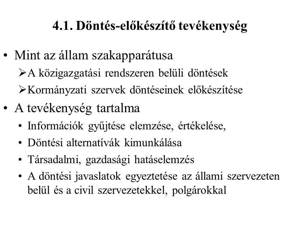 4.1. Döntés-előkészítő tevékenység Mint az állam szakapparátusa  A közigazgatási rendszeren belüli döntések  Kormányzati szervek döntéseinek előkész