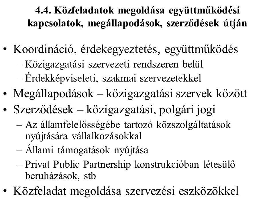 4.4. Közfeladatok megoldása együttműködési kapcsolatok, megállapodások, szerződések útján Koordináció, érdekegyeztetés, együttműködés –Közigazgatási s