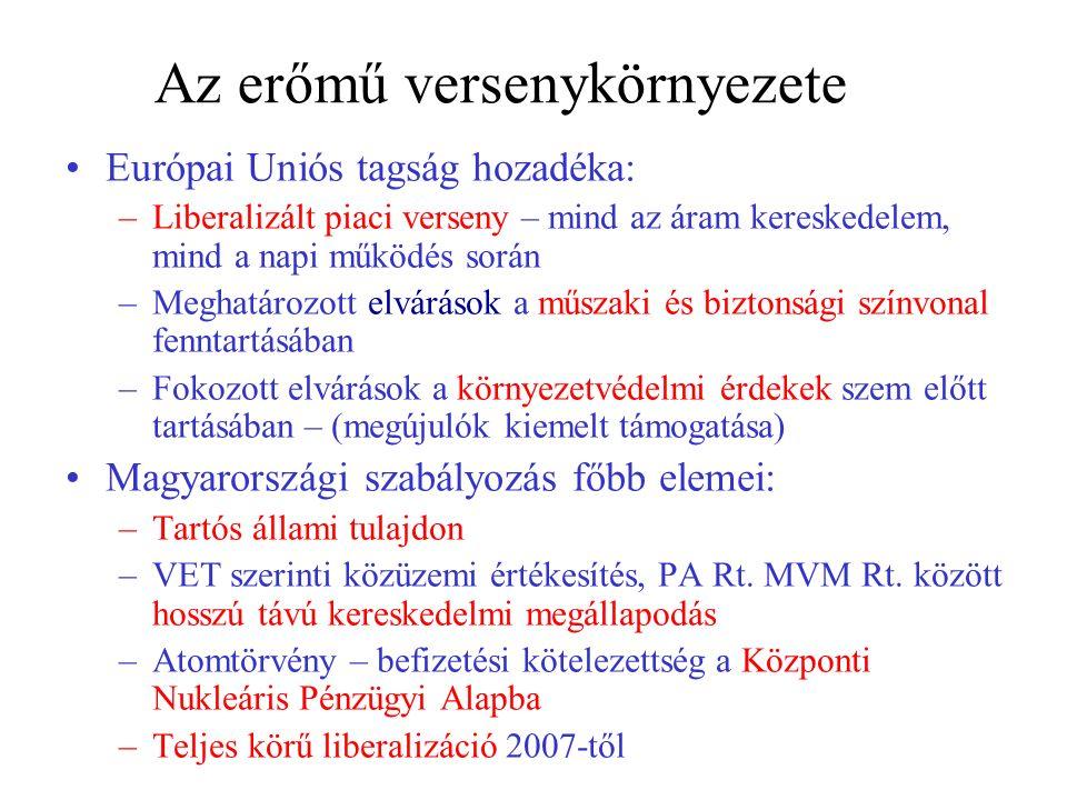 Az erőmű versenykörnyezete Európai Uniós tagság hozadéka: –Liberalizált piaci verseny – mind az áram kereskedelem, mind a napi működés során –Meghatározott elvárások a műszaki és biztonsági színvonal fenntartásában –Fokozott elvárások a környezetvédelmi érdekek szem előtt tartásában – (megújulók kiemelt támogatása) Magyarországi szabályozás főbb elemei: –Tartós állami tulajdon –VET szerinti közüzemi értékesítés, PA Rt.