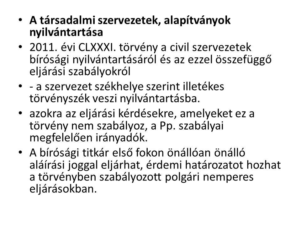 A társadalmi szervezetek, alapítványok nyilvántartása 2011.