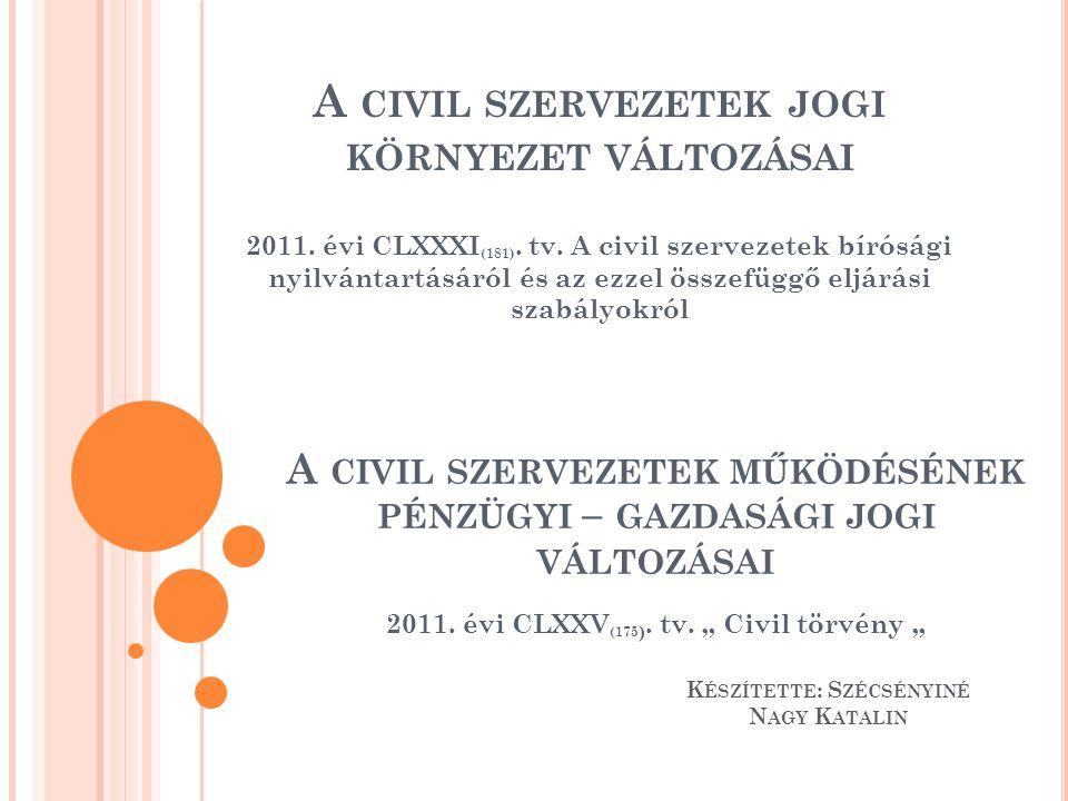 A CIVIL SZERVEZETEK JOGI KÖRNYEZET VÁLTOZÁSAI 2011. évi CLXXXI (181). tv. A civil szervezetek bírósági nyilvántartásáról és az ezzel összefüggő eljárá