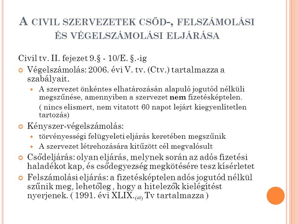 A CIVIL SZERVEZETEK CSŐD -, FELSZÁMOLÁSI ÉS VÉGELSZÁMOLÁSI ELJÁRÁSA Civil tv. II. fejezet 9.§ - 10/E. §.-ig Végelszámolás: 2006. évi V. tv. (Ctv.) tar