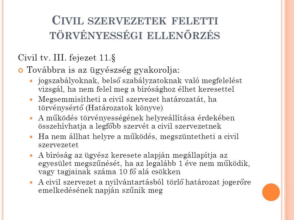 C IVIL SZERVEZETEK FELETTI TÖRVÉNYESSÉGI ELLENŐRZÉS Civil tv. III. fejezet 11.§ Továbbra is az ügyészség gyakorolja: jogszabályoknak, belső szabályzat