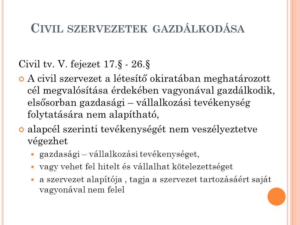 C IVIL SZERVEZETEK GAZDÁLKODÁSA Civil tv. V. fejezet 17.§ - 26.§ A civil szervezet a létesítő okiratában meghatározott cél megvalósítása érdekében vag