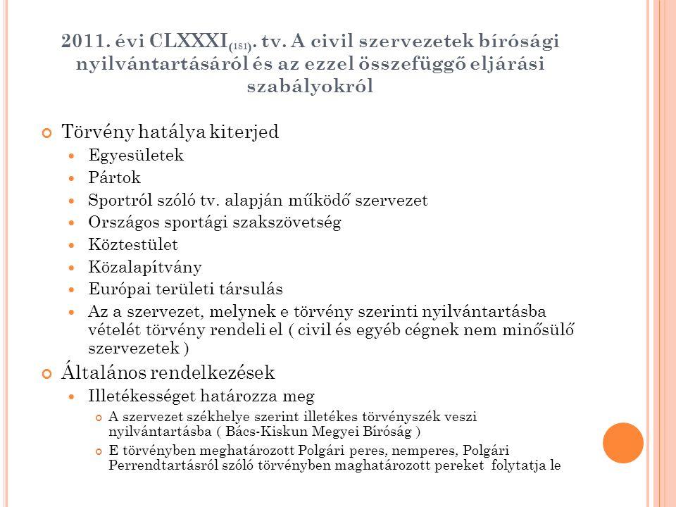 2011. évi CLXXXI ( 181 ). tv. A civil szervezetek bírósági nyilvántartásáról és az ezzel összefüggő eljárási szabályokról Törvény hatálya kiterjed Egy
