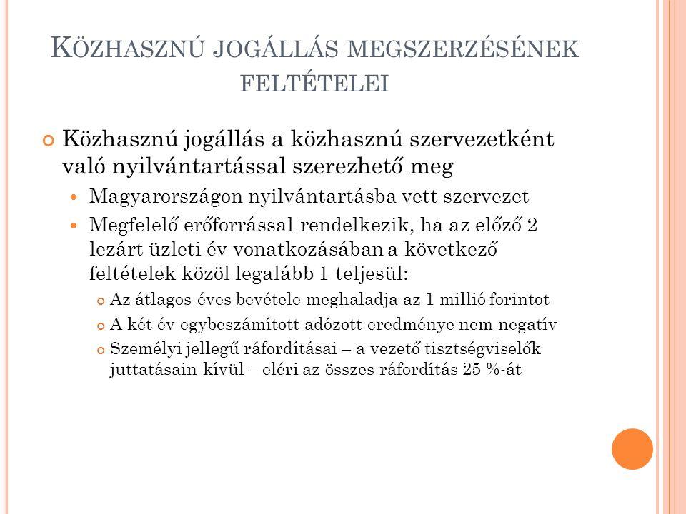 K ÖZHASZNÚ JOGÁLLÁS MEGSZERZÉSÉNEK FELTÉTELEI Közhasznú jogállás a közhasznú szervezetként való nyilvántartással szerezhető meg Magyarországon nyilvántartásba vett szervezet Megfelelő erőforrással rendelkezik, ha az előző 2 lezárt üzleti év vonatkozásában a következő feltételek közöl legalább 1 teljesül: Az átlagos éves bevétele meghaladja az 1 millió forintot A két év egybeszámított adózott eredménye nem negatív Személyi jellegű ráfordításai – a vezető tisztségviselők juttatásain kívül – eléri az összes ráfordítás 25 %-át