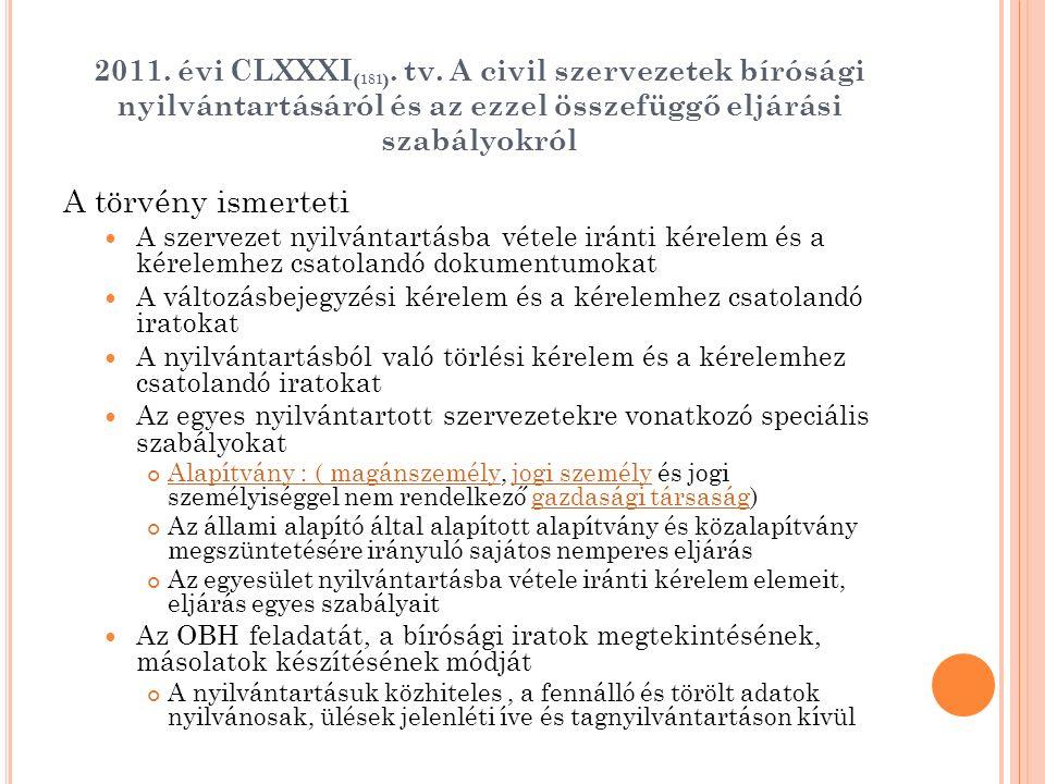 2011. évi CLXXXI ( 181 ). tv. A civil szervezetek bírósági nyilvántartásáról és az ezzel összefüggő eljárási szabályokról A törvény ismerteti A szerve