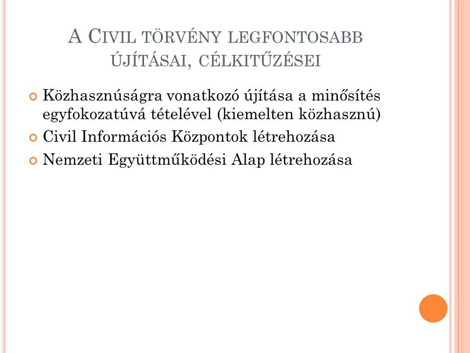 A C IVIL TÖRVÉNY LEGFONTOSABB ÚJÍTÁSAI, CÉLKITŰZÉSEI Közhasznúságra vonatkozó újítása a minősítés egyfokozatúvá tételével (kiemelten közhasznú) Civil