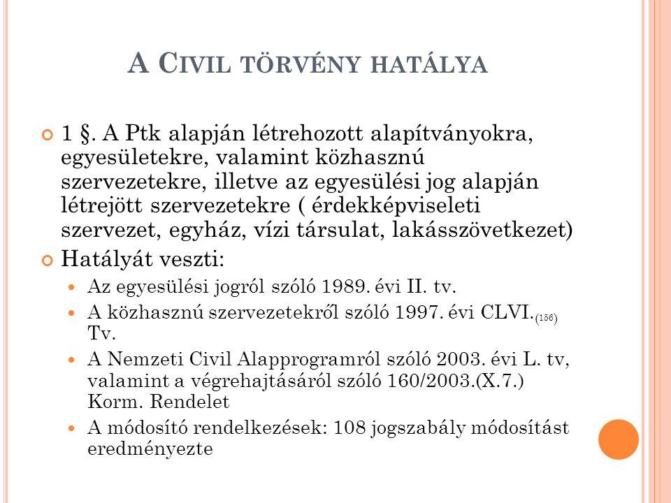 A C IVIL TÖRVÉNY HATÁLYA 1 §. A Ptk alapján létrehozott alapítványokra, egyesületekre, valamint közhasznú szervezetekre, illetve az egyesülési jog ala