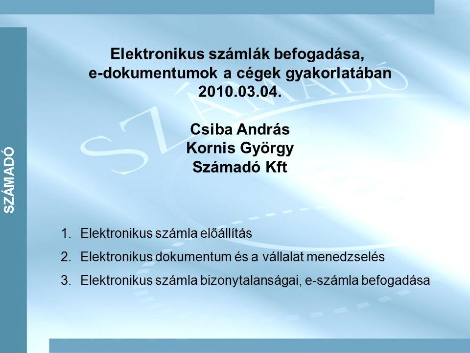 SZÁMADÓ Elektronikus számlák befogadása, e-dokumentumok a cégek gyakorlatában 2010.03.04.