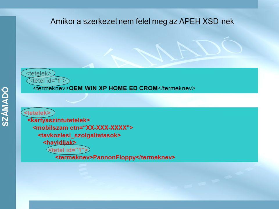 Amikor a szerkezet nem felel meg az APEH XSD-nek OEM WIN XP HOME ED CROM PannonFloppy